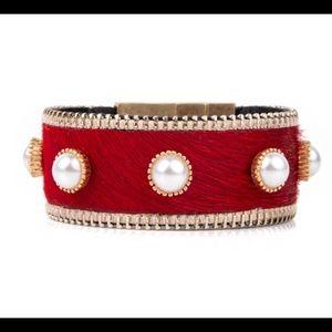 Plunder FLAME Red fur magnetic cuff Bracelet
